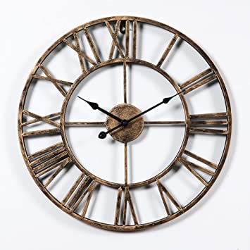 Aero Snail Vintage Retro 20 inch Dia Large Iron Metal Indoor Wall Clock  with Roman Amazon com