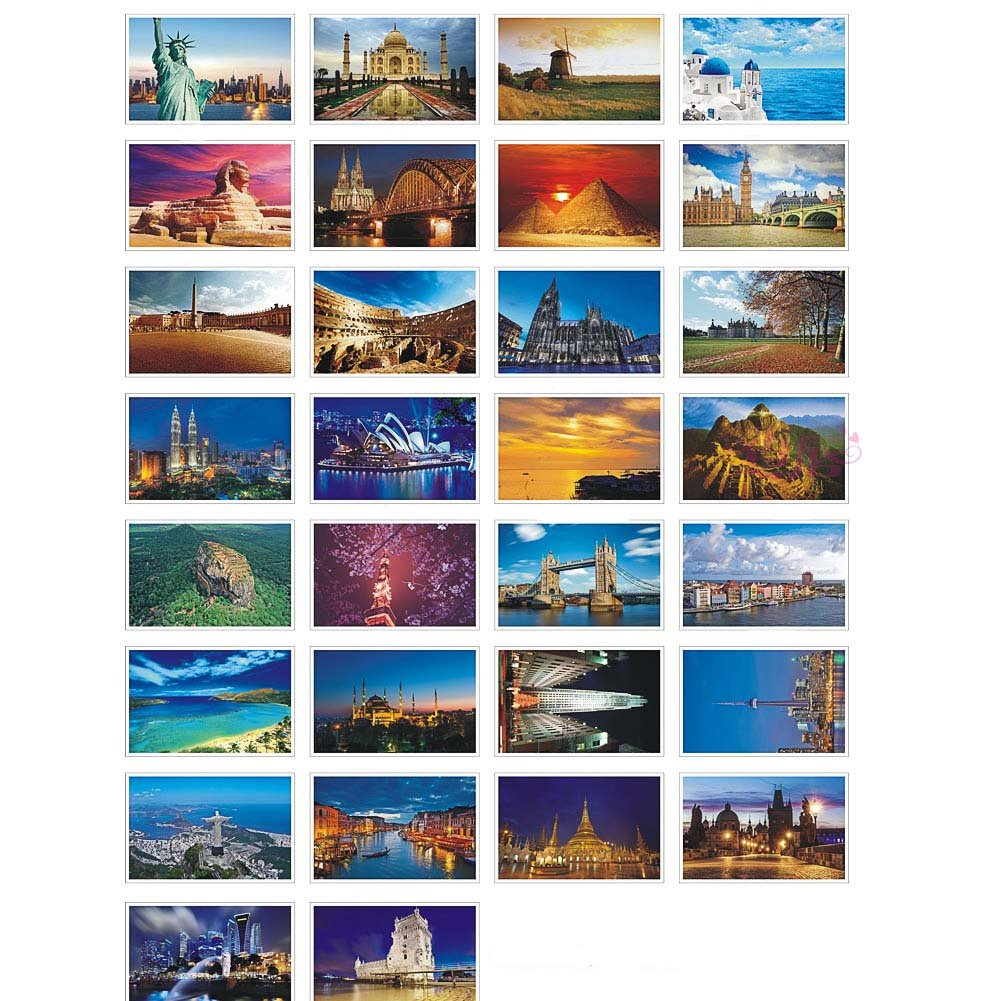 30 Pcs Artistic Postcards Picture Postcards Travel Photo Souvenir Gift Cards, Around The World 2 FANCY PUMPKIN