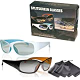"""2 Player split screen polarized gaming glasses - high quality - compatible with """"Dual Play"""" by LG and """"Full Screen Gaming"""" (passive version) by Philips - same technique, but no 3D glasses - with pouch"""