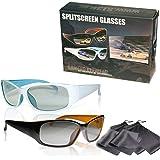 2 Spieler Splitscreen Polfilterbrillen - hochwertig - kompatibel mit Dual Play von LG, Fullscreen Gaming von Philips, SimulView von Sony und Dual Gaming von Grundig (passive 3D TVs, keine Shutterbrillen) - mit Brillenbeuteln und Putztüchern - gleiche Technik, aber keine 3D Brillen