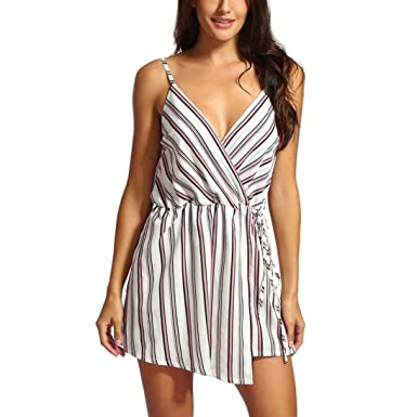 1236ab47b3d Jumpsuit for Women Jamicy Strap Jumpsuit Summer Striped Casual Beach Shorts  Jumpsuit (S