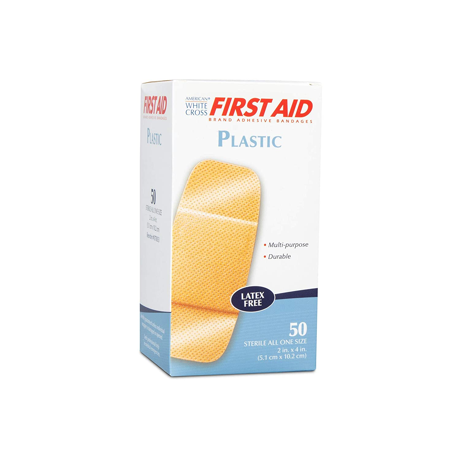 """Details about  /American White Cross Plastic Patch Adhesive Bandage 2/"""" x 4/"""" 100 Count MS20125"""
