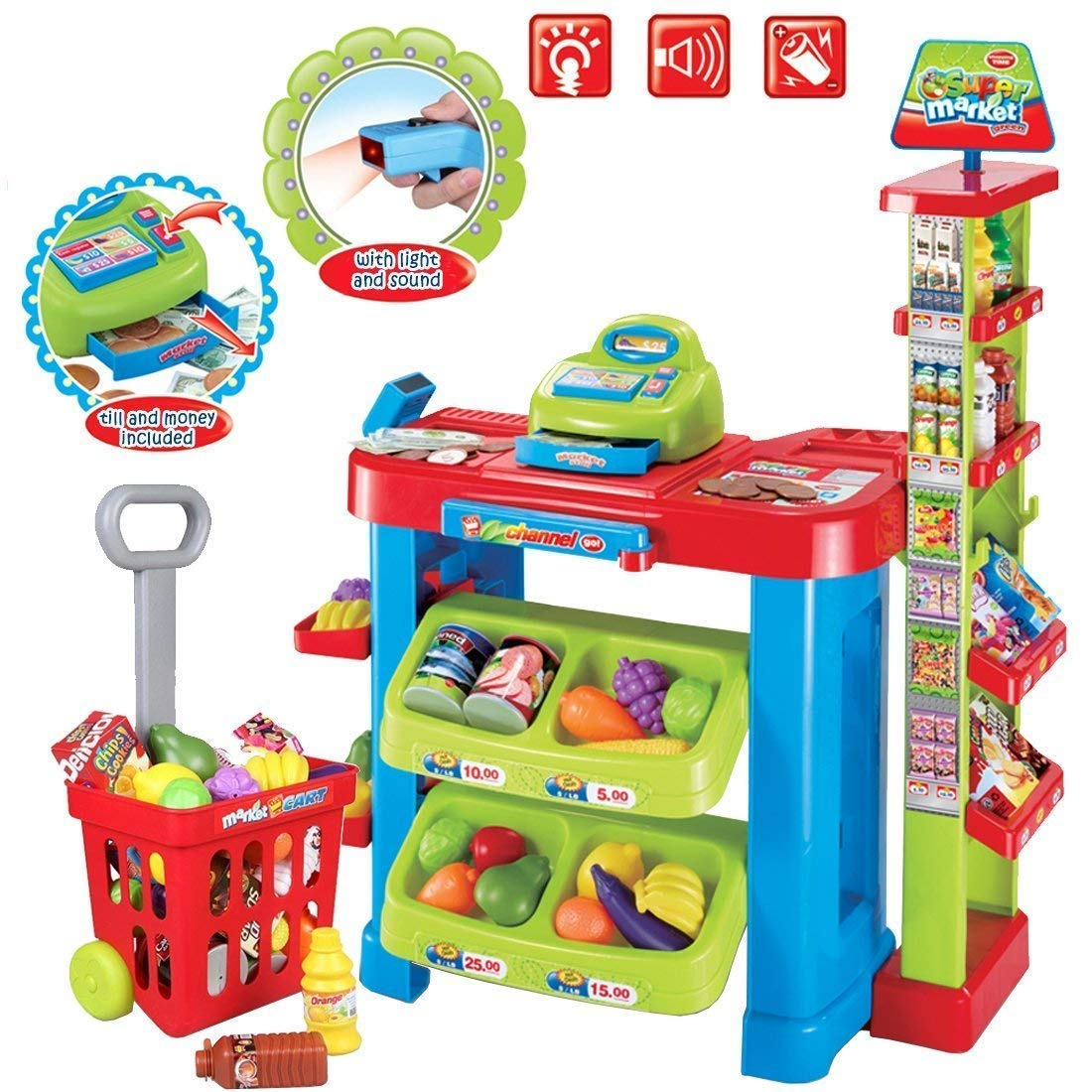 deAO Supermarket Kids Market Stall Toy Shop with Shopping Trolley and Play Food by deAO