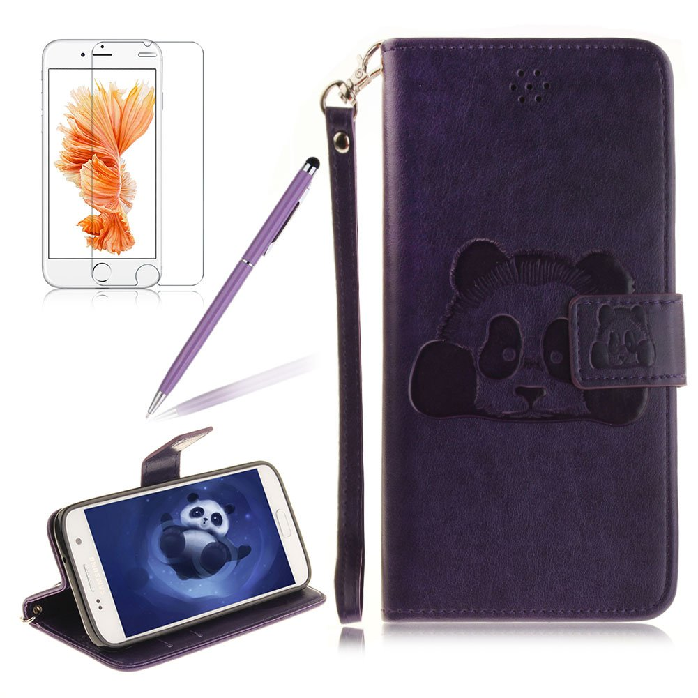 Girlyard For Samsung Galaxy S7 [Wrist Strap] Animal Panda Relief Stand Wallet Flip Case Cover PU Leather Folding Protective Case Cover with Magnetic Closure and Card Slots, Gray