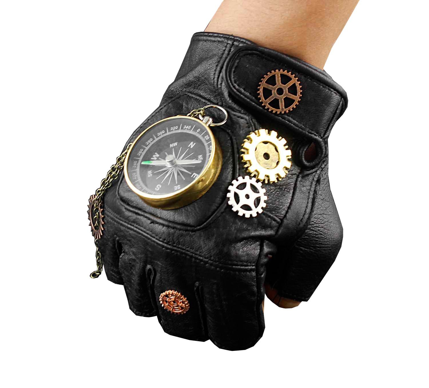 Steampunk Cosplay Compass Gears Fingerless Real Leather Gloves Men/womens 5