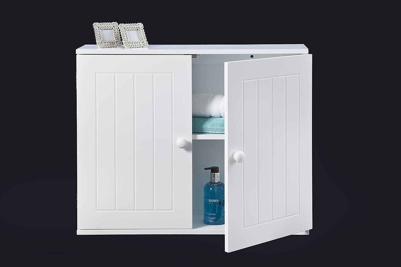 Amazon.de: Elegant Brands Ltd (43112 Wand) Weißer Badezimmerschrank ...