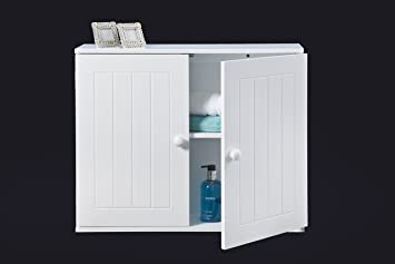 43112 wall) White wooden Bathroom Wall Mounted Cabinet / Storage ...