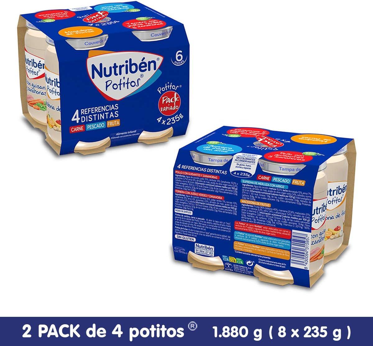 Nutribén - Packs De Potitos Variados (2X4 Uni.) 8 Unidades 1880 g: Amazon.es: Alimentación y bebidas