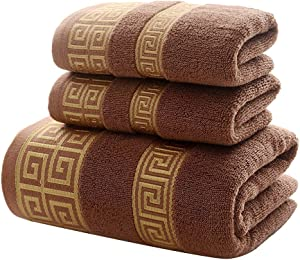 100% Cotton Highly Absorbent Embroidered Towels 3-Piece Towel Set Hotel Bath Towel, 1 Bath Towels, 2 Hand Towels Extra Thick Beach Bath Towels (Brown)
