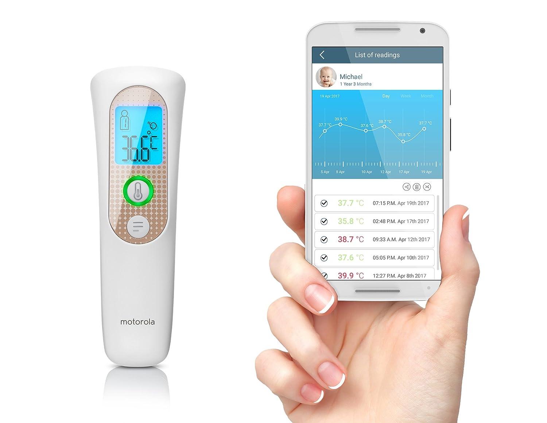 Motorola termómetro inteligente de frente sin contacto  - Compatible iOS/Android