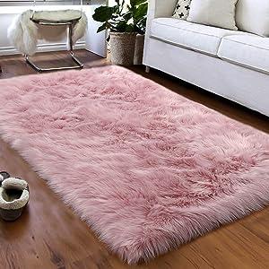 Softlife Faux Fur Sheepskin Area Rugs Shaggy Wool Carpet for Girls Room Bedroom Living Room Home Decor Rug (3ft x 5ft, Pink)