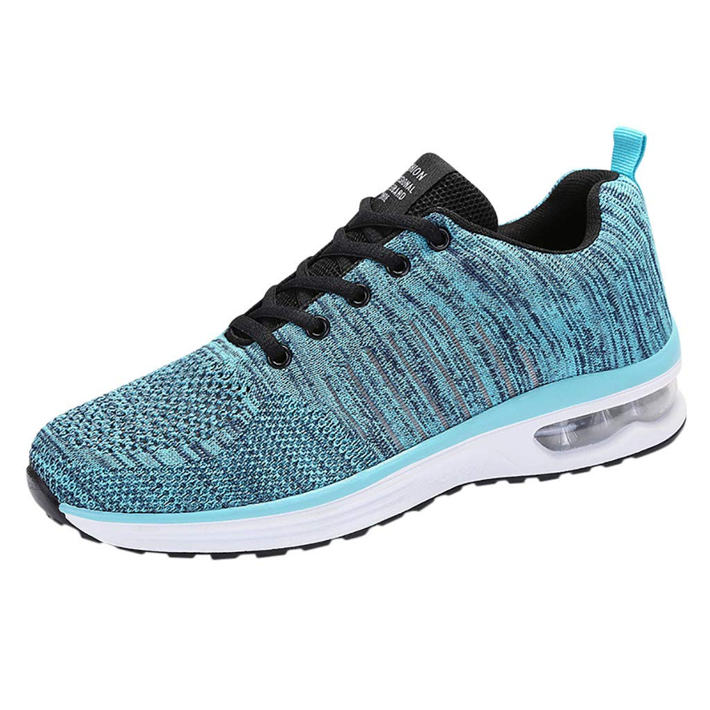 【MOHOLL】 Men Breathable Knit Running Shoes Athletic Outdoor Walking Shoe Athletic Tennis Lace-Up Flats Sneakers Blue
