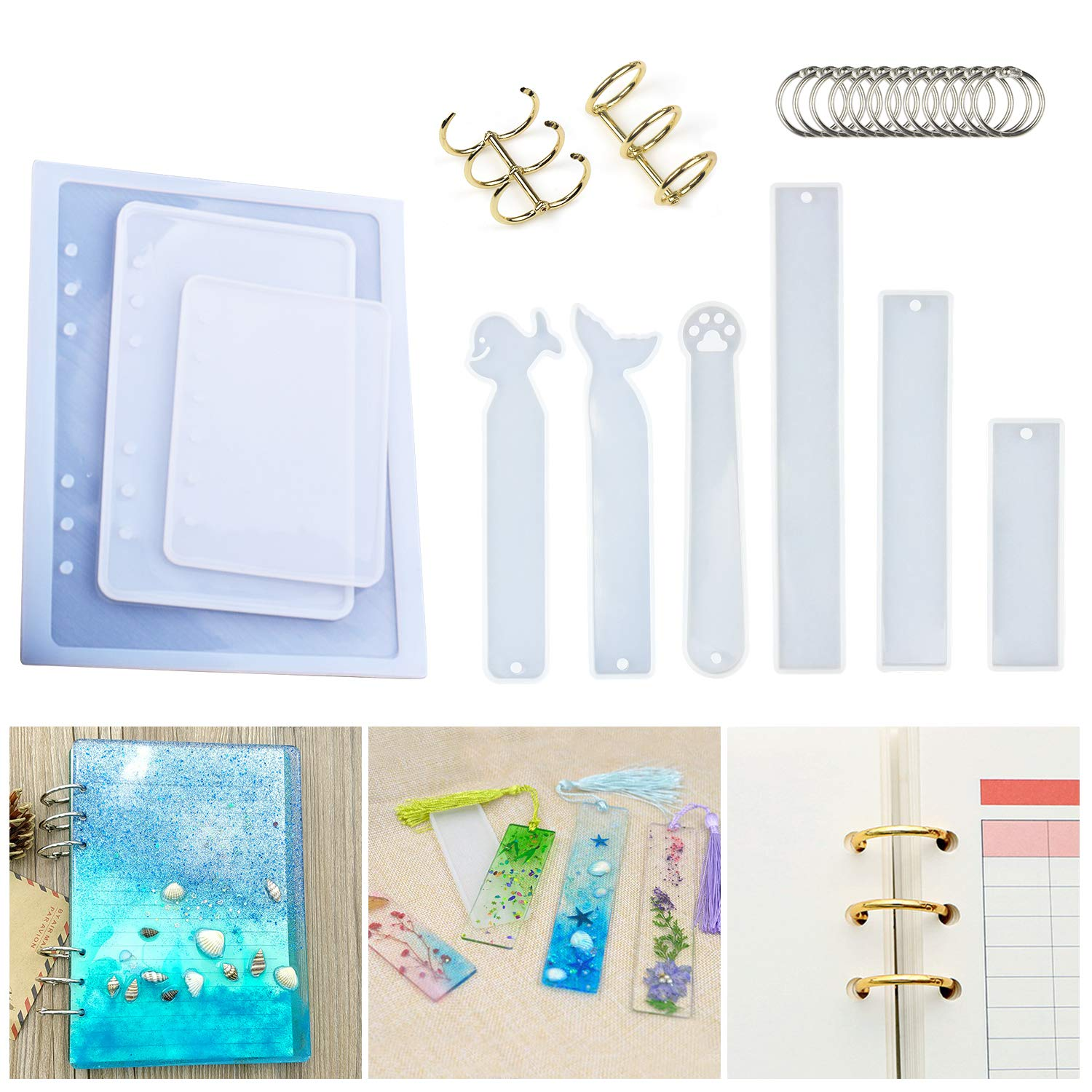 Resin Casting Molds for Notebook Cover A5 A6 A7, Silicone Bookmark Resin Mold 6PCS, Silicone Notebook Cover Clear Casting Epoxy Resin Molds with 14PCS Book Rings for Epoxy Resin Jewelry DIY Fans E4ulife