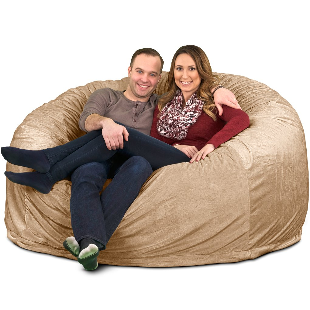 Ultimate Sack 6000 Bean Bag Chair: Giant Foam-Filled Furniture - Machine Washable Covers, Double Stitched Seams, Durable Inner Liner 100% Virgin Foam. Comfy Bean Bag Chair. (Black, Fur)