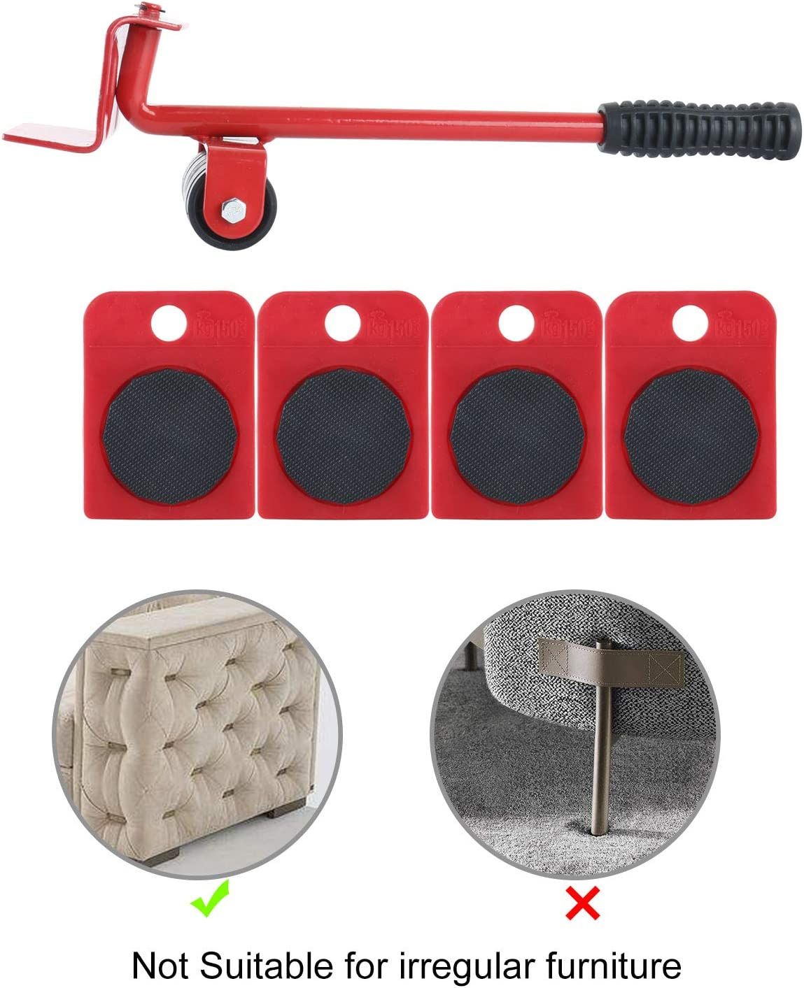 """Homend Furniture Lifter and 4 Packs 3.9""""x3.15"""" Furniture Slides Kit, Heavy Furniture Roller Move Tools Max Up for 150KGS/330 LBS, 360 Degree Rotatable Pads, Easily Redesign and Rearrange Living Space"""
