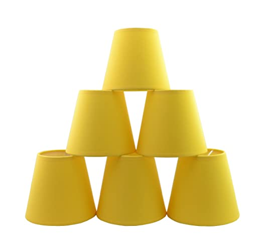 Conjunto de 6 piezas Clamp Pantalla de lámpara para lampara y lampara de pared (Plátano Amarillo) / Set of 6 Clip Lamp Shade for Chandelier and wall ...