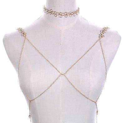 cdc8794ca9a46 JUST N1 2017 New Design Fashion Bohemian Sexy Bikini Bra Chain Harness  Necklace Crossover Body Chain