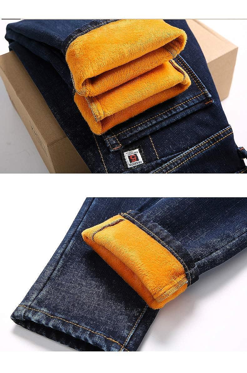 NIU Winter Jeans Skinny Solid Denim Pencil Stretch Heat Insulated Warm Casual Jean