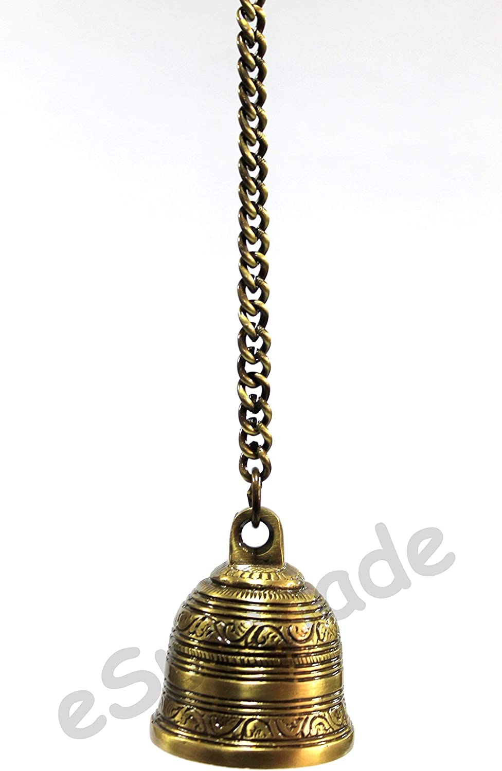 Ethnic Indian Handcrafted Brass Temple Bell with Chain Brass Hanging Bell Home Decor Door Decor eSplanade Pooja Accessories