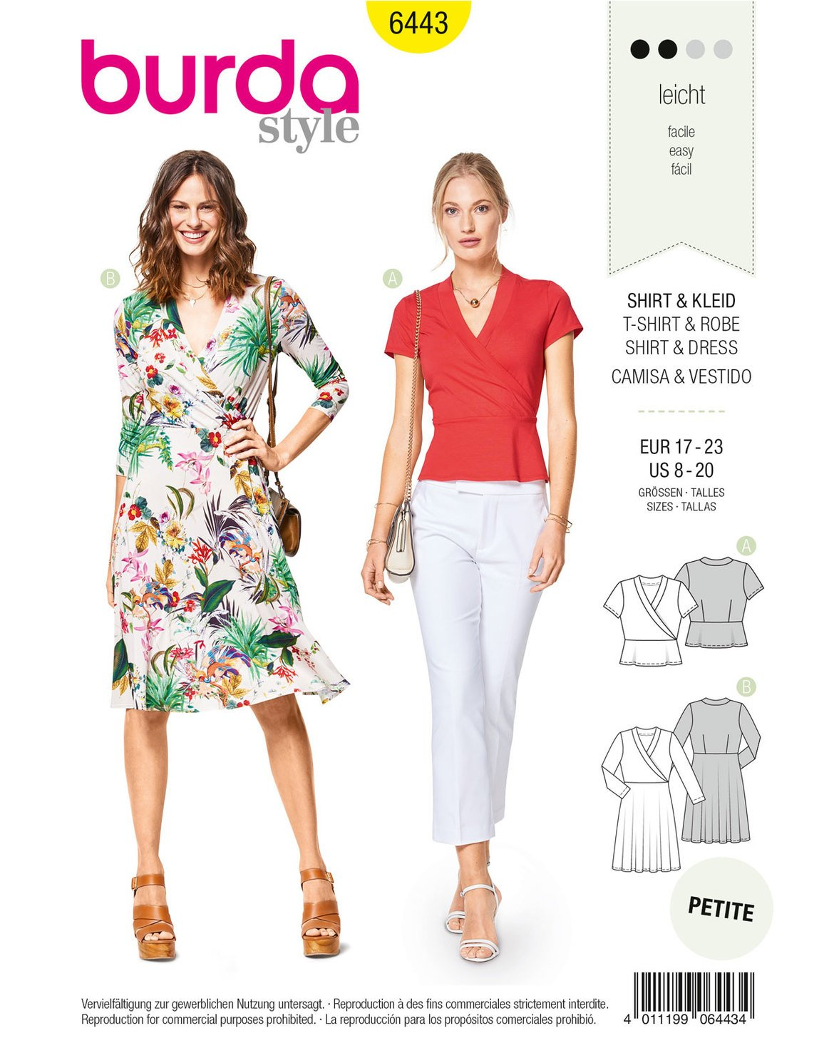 50cc2a0a24ba Amazon.com: Burda Style Sewing Pattern B6443 - Misses' Jersey Dresses, A(8 -10-12-14-16-18-20): Arts, Crafts & Sewing