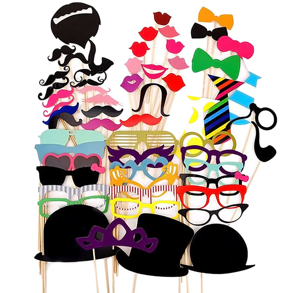 58 Pcs bricolage Photographie Photo Booth les accessoires Kit mariage anniversaires diplômé parti Selfie Dress-up pour accessoires de voyage