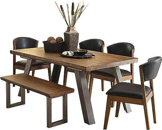 Holiday Mid Century - Juego de Mesa de Comedor Industrial de 6 Piezas, 4 sillas, Banco con Acabado de Madera Natural: Amazon.es: Juguetes y juegos