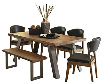 Amazon.com - Holiday Mid Century Industrial 6PC Dining Set ...