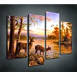 Moyedecor Art S404 4 Panel Wall Art Whitetail Deer In dusk Painting The Picture Print On Canvas Animal Pictures For Home Decor Decoration Gift piece