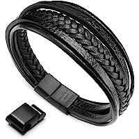 murtoo Herren Armband Edelstahl Echtleder Armband schwarz braun geflochten mit Magnet Verschluss(22cm)