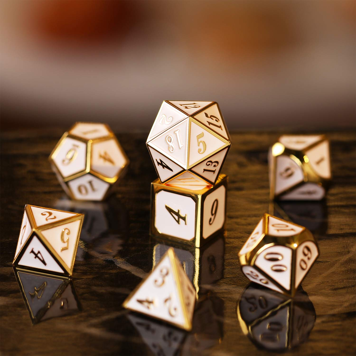 TecUnite 7 Die Metal Polyhedral Dice Set DND Role Playing Game Dice Set with Storage Bag for RPG Dungeons and Dragons D/&D Math Teaching