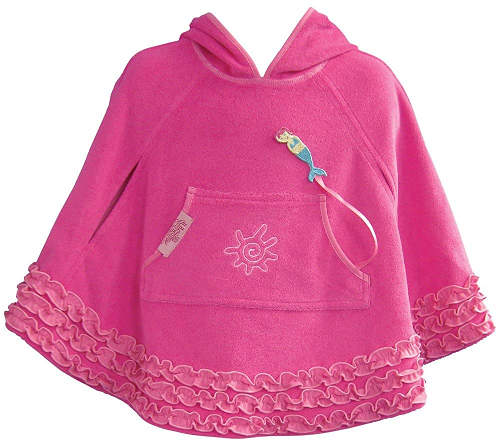 UV Skinz UPF 50+ Kids Terry Beach Poncho Cover Up Hot Pink)