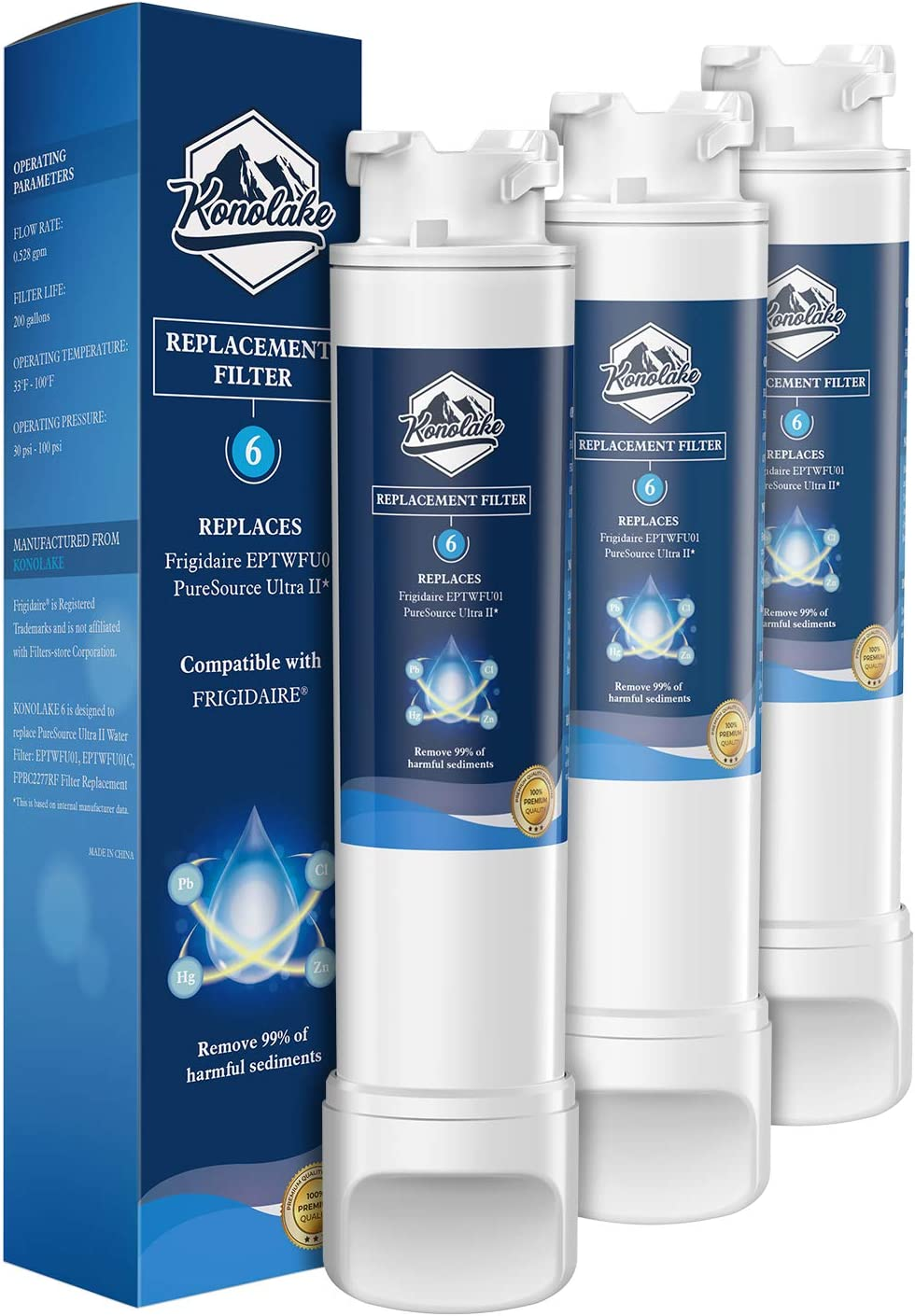 Konolake EPΤWFU01 Compatible EPΤWFU01C, Puresource Ultra II, Puresource Ultra 2 Refrigerator Water Filter and Ice Filter - 3 Packs