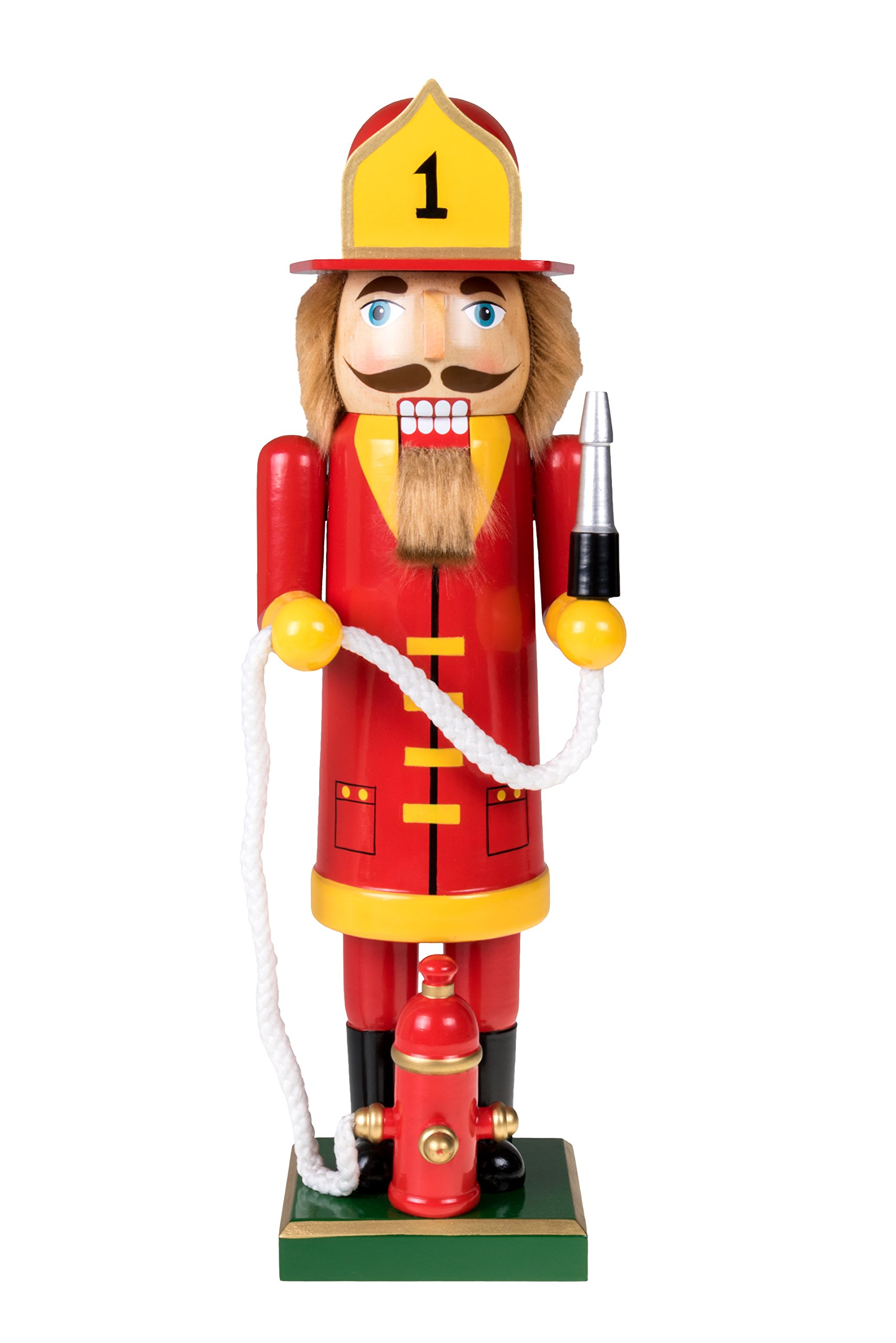Fireman Nutcracker by Clever Creations | Festive Christmas Decor | Red and Yellow Painted Uniform | 100% Real Wood Collectible Fire Fighter | Equipped with Hydrant with Rope Hose | 14'' Tall