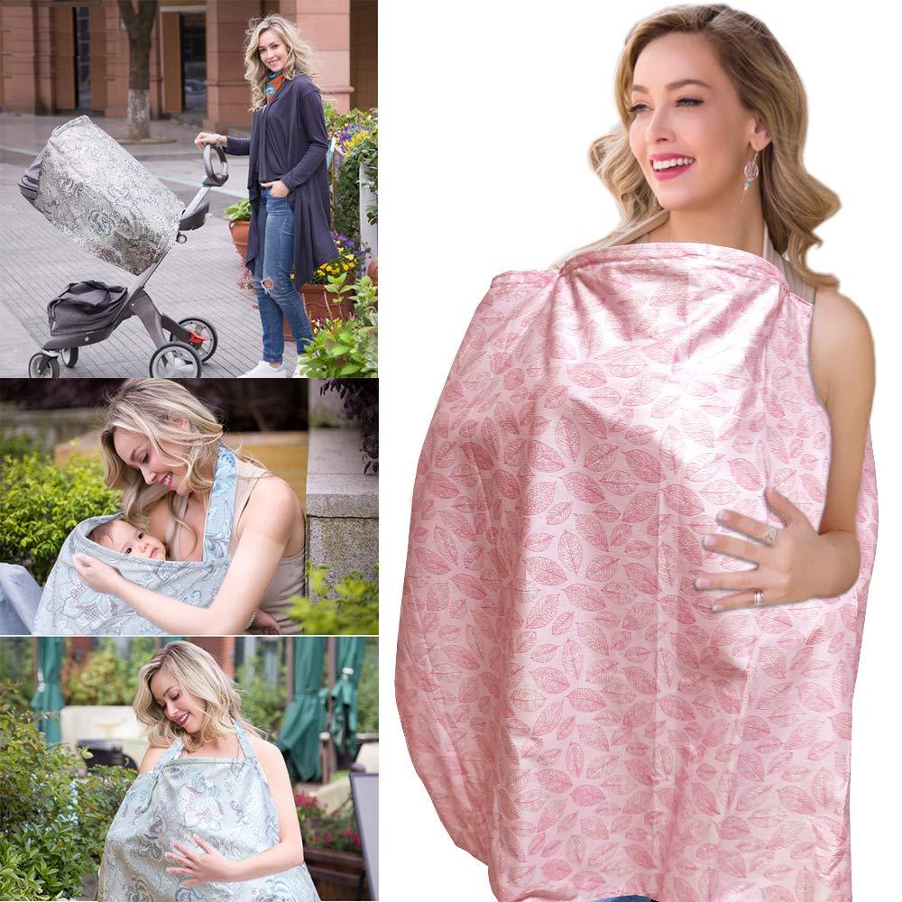 Nursing Cover, ChuGii Lightweight Breathable 100% Cotton Breastfeeding Cover, Nursing Apron for Breastfeeding - Rigid Neckline (Red Leaves) by ChuGii
