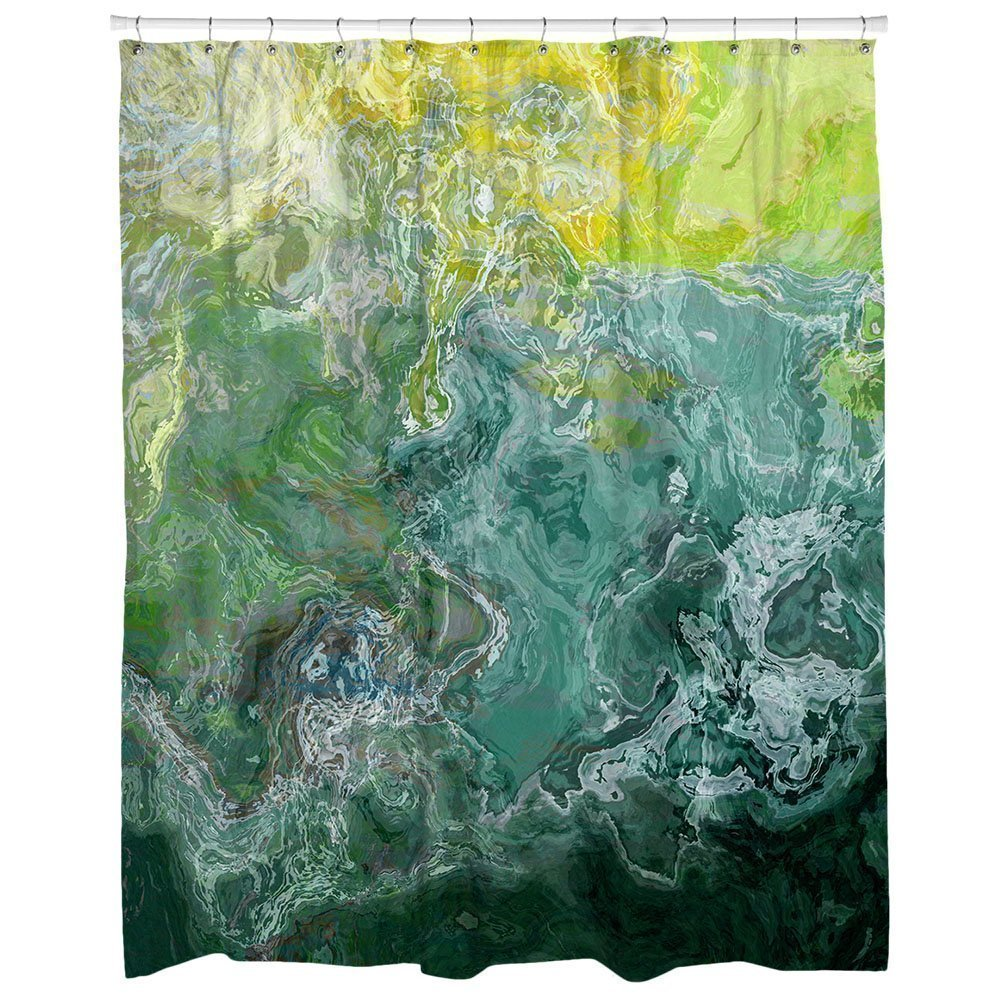 Abstract art shower curtain in green, teal, aqua, Sea Shore