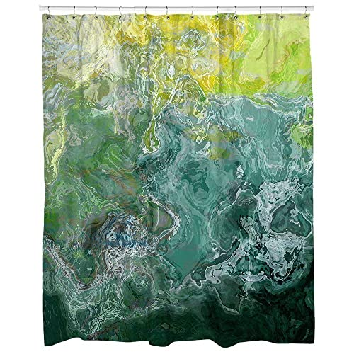 Abstract Art Shower Curtain In Green Teal Aqua Sea Shore