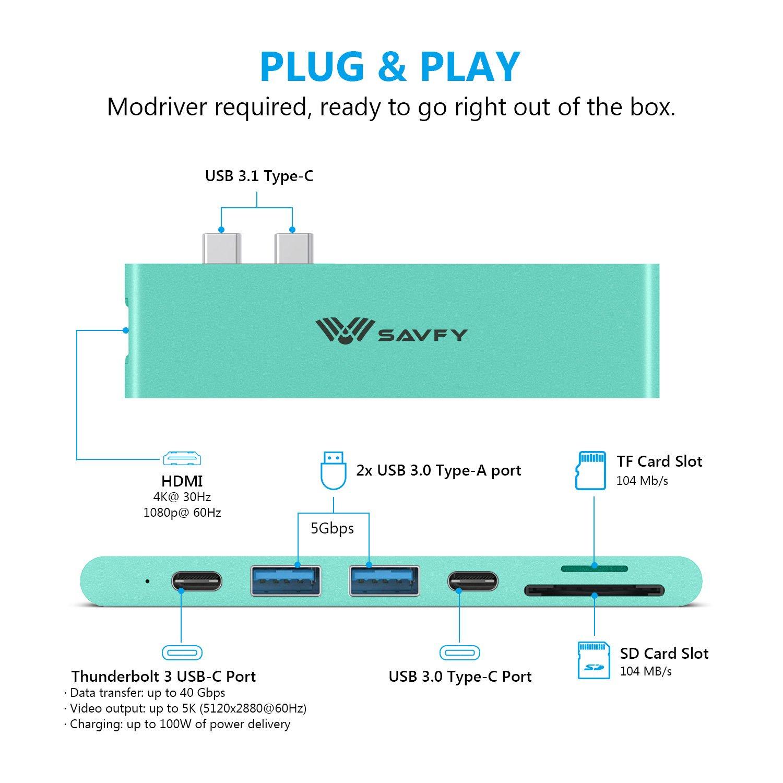 SD und Micro SD//TF Kartenleser USB C /& 2 USB 3.0 Anschluss Ultra Slim Type C Hub Adapter Thunderbolt 3 Dock Aluminium Plug/&Play Mintblau 13 und15 SAVFY USB C Hub HDMI f/ür MacBook Pro 2017//2016