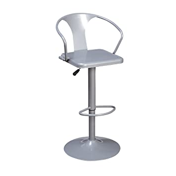 Excellent Target Marketing Systems Max Industrial Metal Adjustable Swivel Bar Stool With Arms Gas Lift And Foot Rest Silver Spiritservingveterans Wood Chair Design Ideas Spiritservingveteransorg