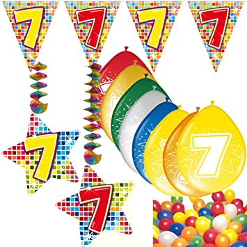 54 Set de decoración de fiesta Set * Número 7 * Cumpleaños ...