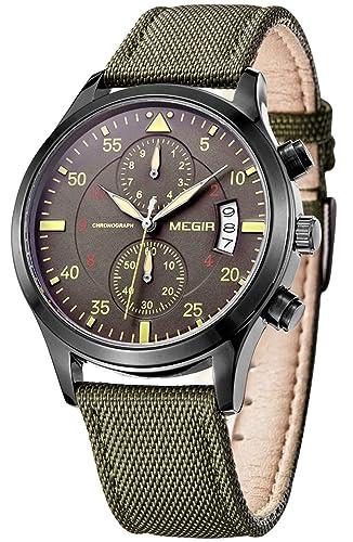 pasoy Piloto Militar de los hombres, estilo Cronógrafo Dial reloj deportivo correa de nylon verde día analógico relojes de cuarzo: Amazon.es: Relojes