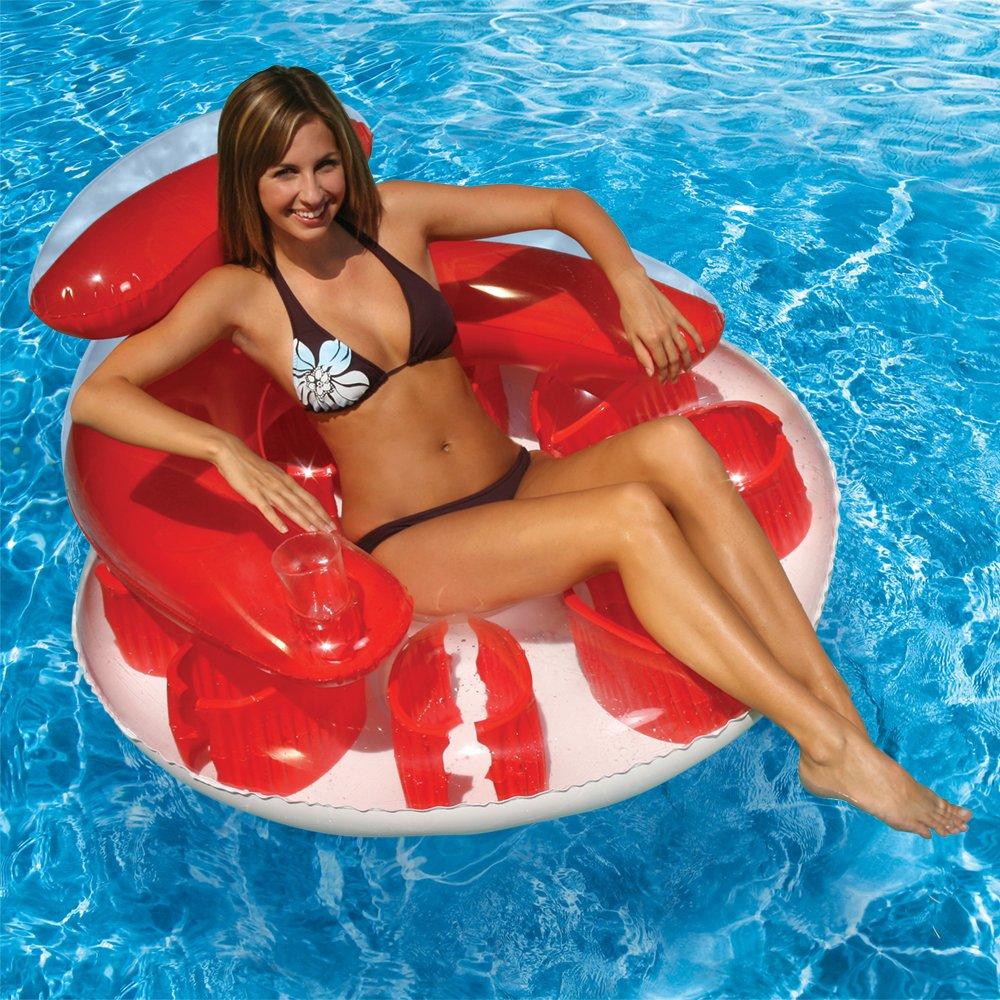 Blue Poolmaster Water Pop Circular Swimming Pool Float Lounge