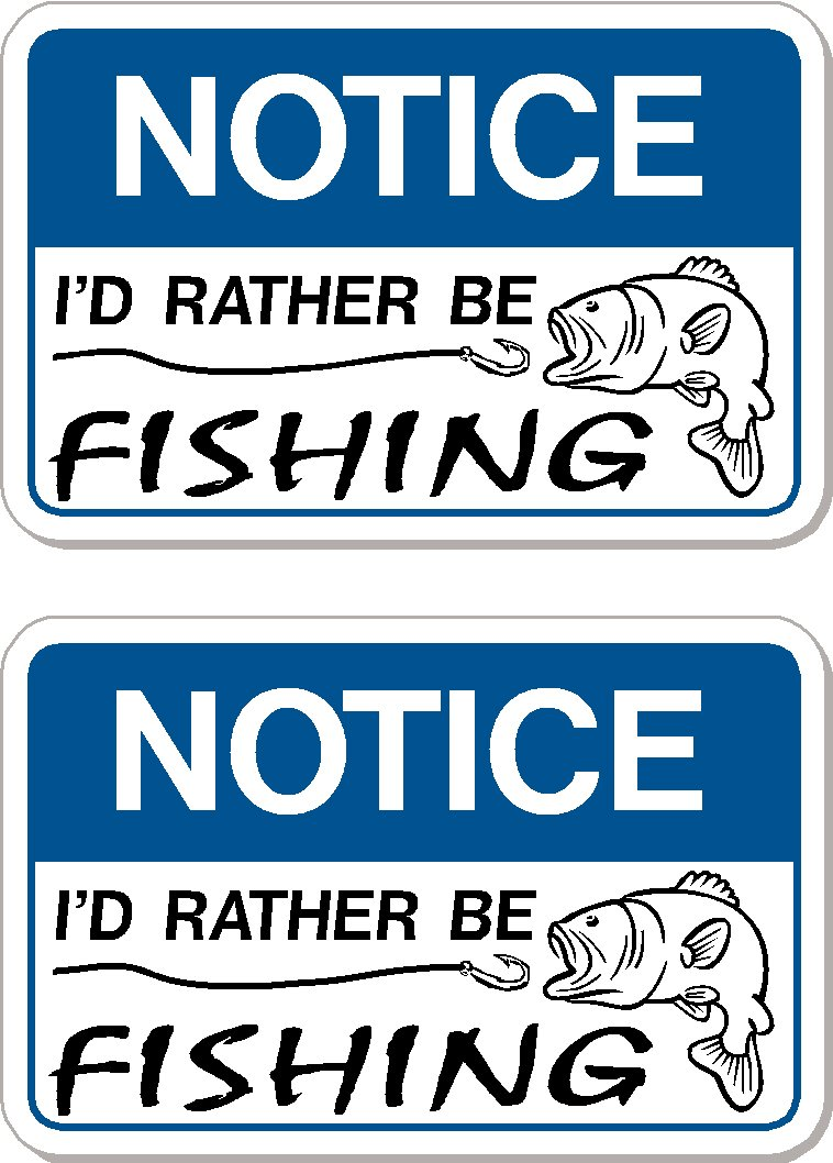Hard Hat vinyl decal sticker I Make Decals L.L.C Notice NoticeFishingFBA 2 decals Id rather be fishing -