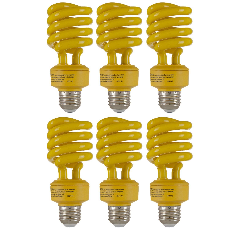 Sunlite SL24/Y/6PK Fluorescent T3 Spiral 24W (100W Equivalent) Yellow Energy Star Light Bulbs, Medium (E26) Base, 6 Pack