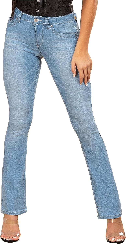 YMI Wannabettabutt Mid-Rise 2-Button Bootcut Luxe Jeans Hand Sand Grinding Blue