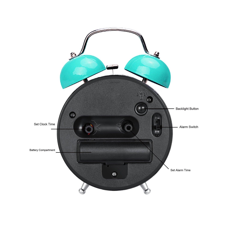 GIRLSIGHT Blue Alarm Clock Retro Portable Twin Bell Beside Alarm Clocks with Nightlight-167.Dog