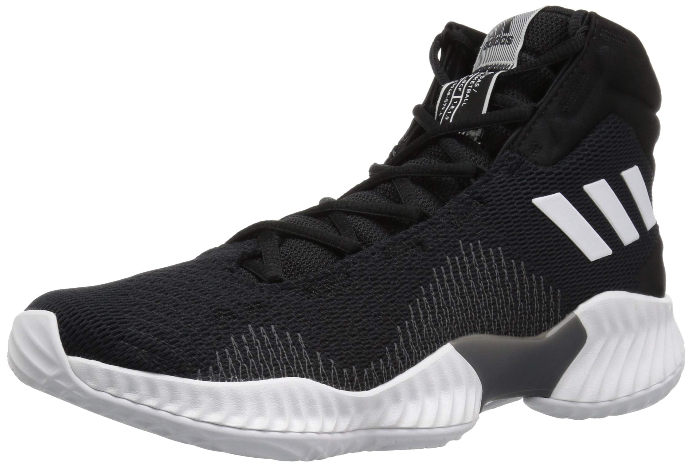 adidas Men's Pro Bounce 2018 Basketball Shoe, Black/White/Grey, 5 M US