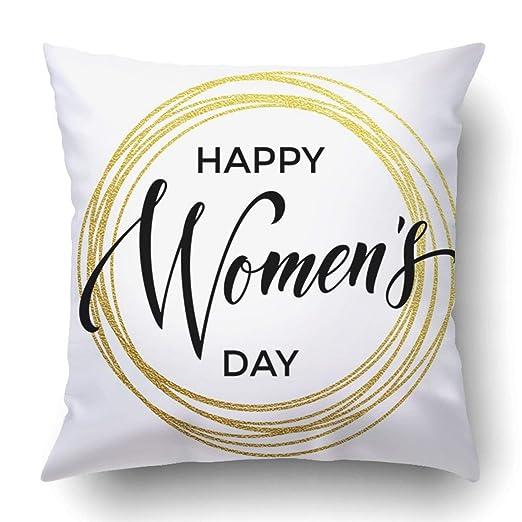 YSEFHX Fundas para Almohada Women Day Gold Glitter and Text ...