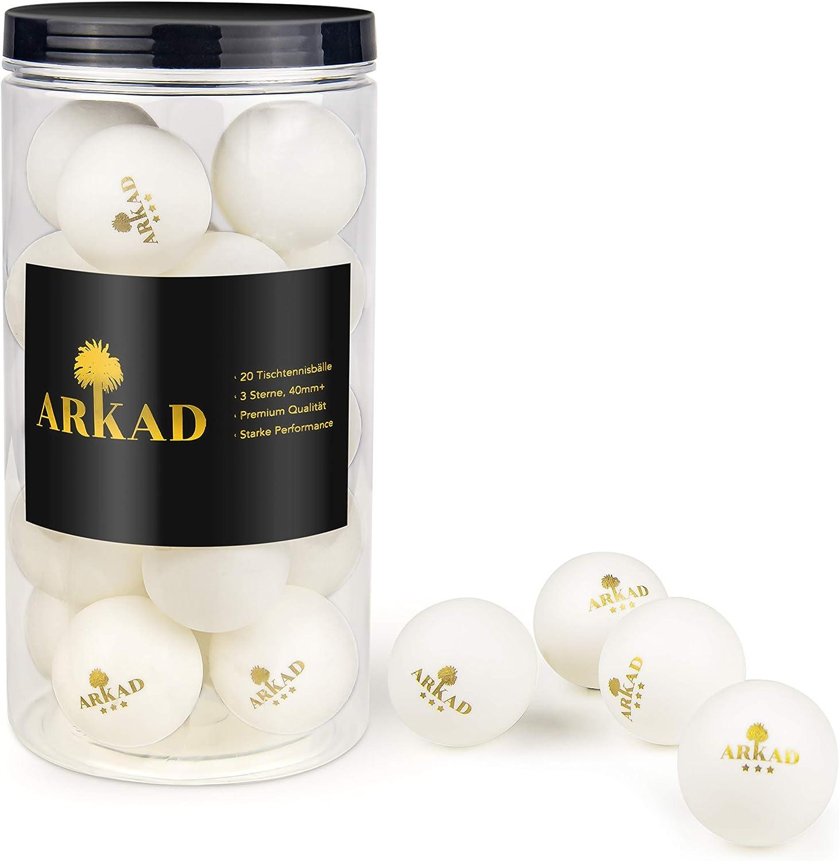 Arkad Tischtennisb/älle /• praktische Aufbewahrung /• 20 St/ück Premium Qualit/ät /• 3 Sterne 40+mm Turnierb/älle in wei/ß mit goldenem Aufdruck