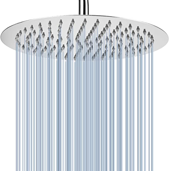 Voolan 12 Rain Shower Head, High Flow Large Bath Shower Made of 304 Stainless Steel, Universal Wall and Ceiling Mount (Round)