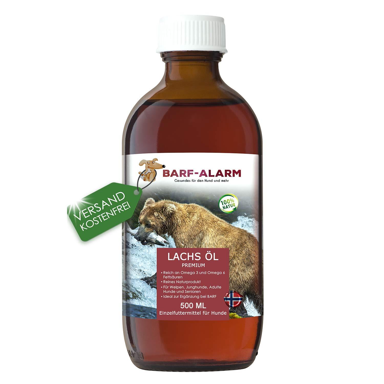 Huile de saumon de qualité supérieure par Barf-Alarm - Avec acides gras oméga 3et 6 - Pour chien